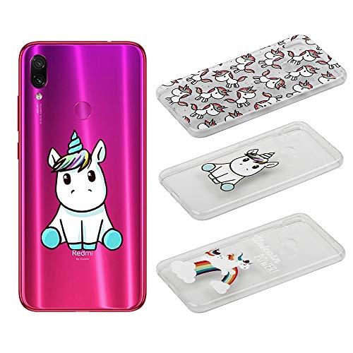 [3 Pack] Cover per Xiaomi Redmi Note 7/Xiaomi Redmi Note 7 PRO, Weideworld 3D Creativa Cover TPU Gel Silicone Bumper Protettivo Custodia Case Cover per Xiaomi Redmi Note 7, Unicorno