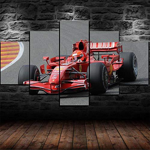5 Stück Drucke Auf Leinwand Gedruckt Malerei Wohnzimmer Wand Kunst Leinwand F1 Roter Rennsportwagen Poster Bild XXL Wohnzimmer Wohnkultur Kreatives Geschenk (Gerahmt)
