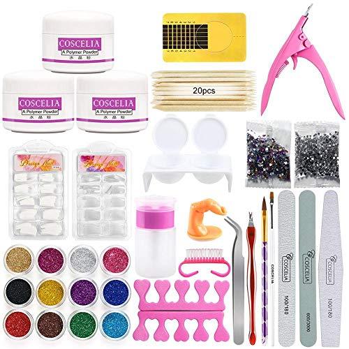 Qmcmc Ensemble d'outils de manucure Poudre acrylique 12 couleurs Glitter Nail Art Kit Faux Ongles Conseils Nail Art Accessoires