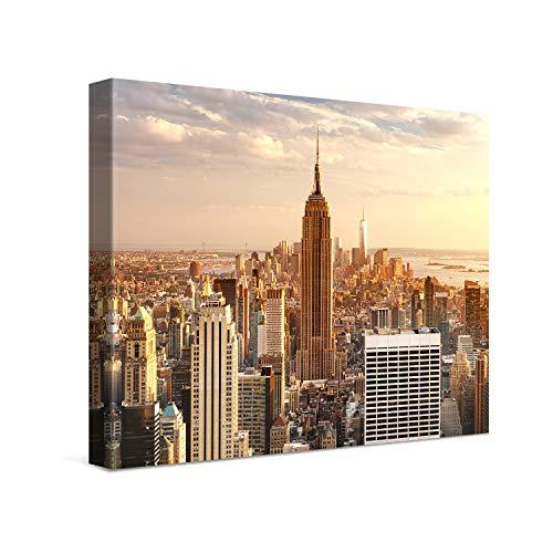 PICANOVA – Manhattan Empire State Building 40x30cm – Cuadro sobre Lienzo – Impresión En Lienzo Montado sobre Marco De Madera (2cm) – Disponible En Varios Tamaños – Colección New York