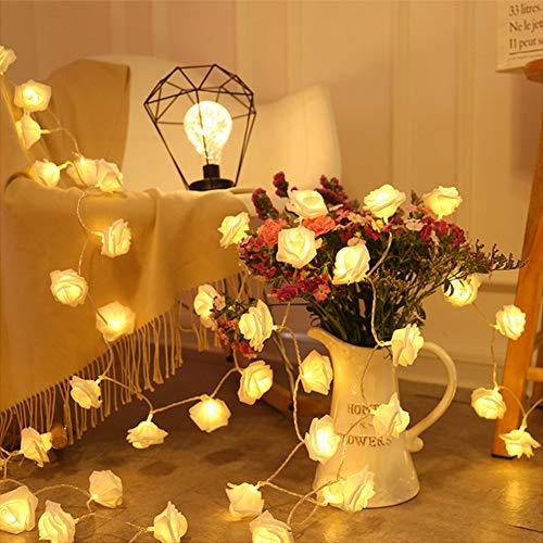 Guirnalda de Luces LED 3M 30 LED Rosas Luces de Decoración de Flores Románticas para San Valentín, Navidad, Bodas, Fiestas-Blanco Cálido (Rosa Blanca)