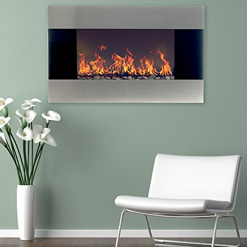 """Northwest Electric Fireplace with Wall Mount and Remote, 36 Inch, 36"""", Black Stainless Steel"""