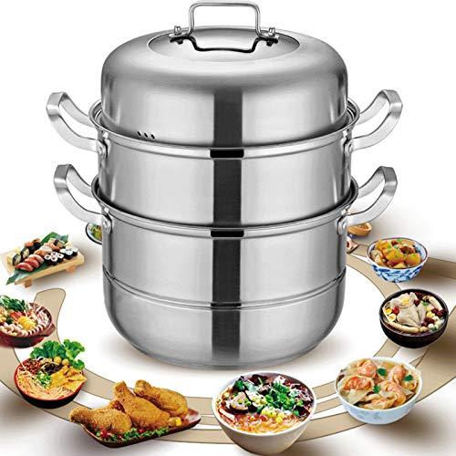 Berkalash Cocina al vapor con 3 niveles, de acero inoxidable 304, con tapa de cristal, hervidor de vapor ecológico, apto para inducción, horno de cerámica, cocina de gas, cocina eléctrica