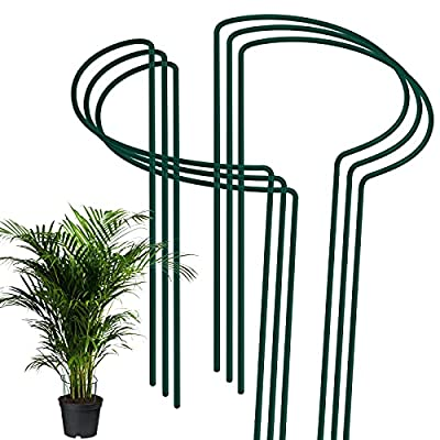 Amazon - 50% Off on 6 Pack Plant Support Stakes, Metal Garden Plant Stake Green Half Round Plant Support Rings