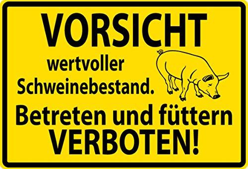 Blechschild 20x30cm gewölbt Vorsicht wertvoller Schweinebestand Schweine Deko Geschenk Schild