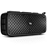ZIZO Thunder T12 Wireless Bluetooth TWS Speaker | Waterproof FM USB Playback AUX in Function and Rechargeable Battery (Black)