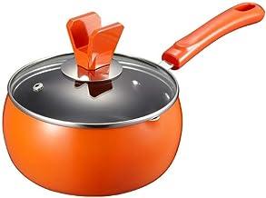 NXYCG Mini Milk Pot with Lid Non stick Instant Noodle Pot Single Handle Small Pot 16cm Orange