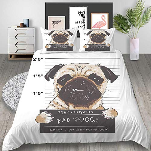 MOUPSDT 3D Printed Duvet Cover Brown animal dog Double size Bedding Set Super Soft Microfiber 3 pcs 1 Duvet Cover 78.7 inch x 78.7 inch with 2 Pillow covers 50x75cm