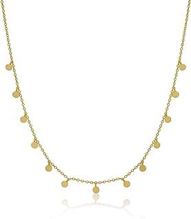 WANDA PLATA, Collar chapitas para Mujer, Plata de Ley 925 bañado en Oro,