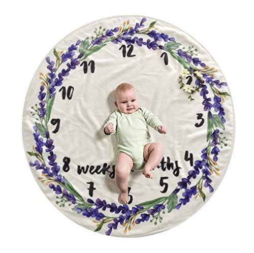 Babydeken voor maandgebouwen voor baby, motief: Babyparty, fotografie, organisch, pluche, fleece, groot, personaliseerbaar met foto van geheugenschuim, violet