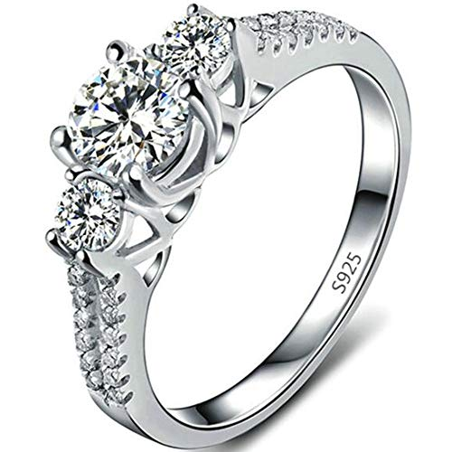 Jude Jewelers Platinum Plated Three Stone Wedding Engagement Anniversary Promise Ring (Silver, 5)
