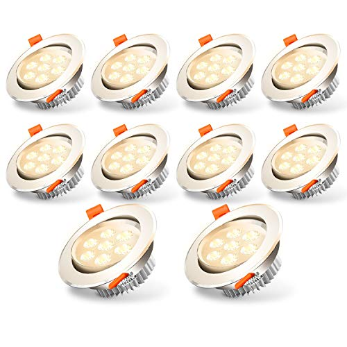Hengda LED Einbaustrahler 10x 7W LED Modul IP44 Badeinbaustrahler 230V ultra Flach Spots Warmweiß Deckenspot Einbauspot 3200K 560LM Round Matt Nickel Deckenstrahler