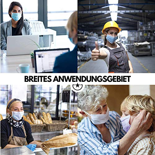 Derma-Test: Sehr Gut 50x geprüfte Masken Made IN Germany Medizinische Mundschutz Maske - TYP II BFE 98% 3-lagige Gesichtsmaske EN 14683:2019 Atemmaske Atemschutzmaske - 2