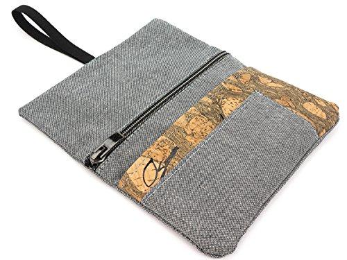 SIMARU Tabaktasche/Tabakbeutel aus Stoff & Kork, Drehtabak Tasche mit Feuerzeug-, Filter- und Blättchen-Tasche, Drehertasche für Herren und Damen (grau/raizes)