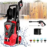 KGK Upgraded Pressure Washer Electric 3500 PSI 2.6GPM Red High Pressure Washer Car Patio Garden Power Washer Machine with Spray Gun, 5 Adjustable Nozzles, 20 ft Hose [US Stock]