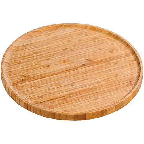 SIDCO Pizzateller Bambus Pizzaschneidebrett Holzteller Pizzabrett Holz Brett Ø 32 cm
