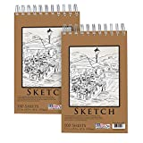 U.S. Art Supply 5.5' x 8.5' Premium Spiral Bound Sketch Pad, (Pack of 2 Pads) Each Pad has 100-Sheets, 60 Pound (100gsm)