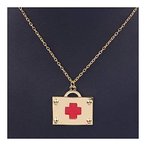 YUNGYE Goldfarben-Erste-Hilfe-Kit-Anhänger-Halskette mit dem Roten Kreuz Mini-Medizin-Kasten-Verbindungs-Ketten Schmuck Accessoires Geschenke for Doktor Nurse Madchen Halskette Anhanger