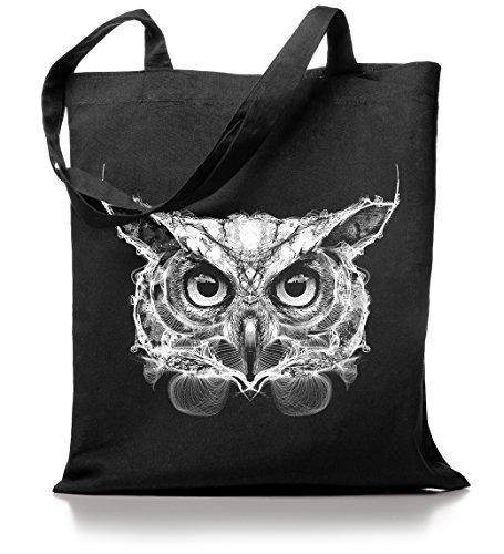 Kane Grey - Owl - Jutebeutel in schwarz