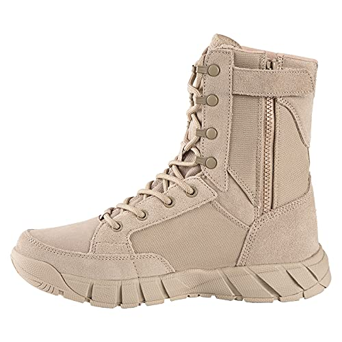 FREE SOLDIER Men's 8 Inch Tactical Side Zip Boots Military Army Duty Work Boot Lightweight Combat Boots for Motorcycle Boots(Tan 11)