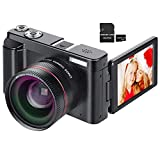 Digital Camera YouTube Vlogging Camera HD 1080P 24MP Video Camcorder 16X Digital Zoom with Wide Angle Lens, WiFi, Pause Function, Face Detection, 3'' IPS Screen, 32GB SD Card, 2xBattery