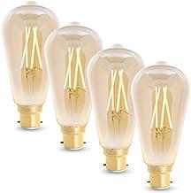 WiZ Smart Tunable Whites LED Filament Globe - ST64 B22 Amber Glass - 720lm - Pack of 4 - 2000K~4500K - WiFi - No Hub Requi...