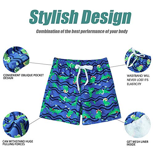 Fanient Dinosaur Boy Shorts Kids Fast Drying Summer Swim Trunks Surf Board Shorts, Dinosaur Blue, 6-7 Years