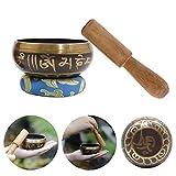 FXQIN Cuencos Tibetano Cuenco de meditación Artesanal de 7.8' Tibetan Singing Bowls con mazo de Madera y cojín para la oración/meditación/Yoga/curación de Chakras