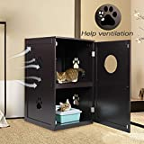 COZIWOW Enclosed Litter Box Enclosure Furniture Hidden Cabinet,Cat Washroom Bench,Litter House Litterbox Cover,Dog Proof Cat Feeding Station Nightstand Table for Large Cat Kitten Kitty