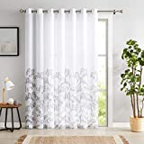 Gray Window Door Curtain 100-inch Extra Wide Semi Sheer Patio Sliding Glass Door Panel, Floral Patterned on White Linen Texture Drape with Grommets, 84' Length 1 Pack