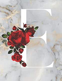 E: Monogram Initial E: Notebook for Women, Girls and School, Marble Floral 8.5 x 11, 120 Pages (60 Sheets) Excellent Gift ...