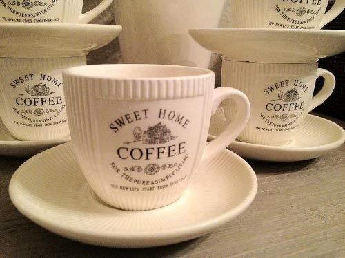 DRULINE 6 x Vintage Landhaus Kaffeetasse Tasse mit Untertasse French Antik Shabby Chic