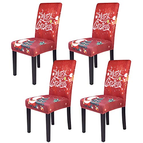Christmas Dining Chair Covers, Spandex Stretch Removable Washable Dining Chair Protector Slipcovers, Parsons Chair Cover for Dining Room, Christmas Decoration for Home, Kitchen ,Wedding Party,Set of 4
