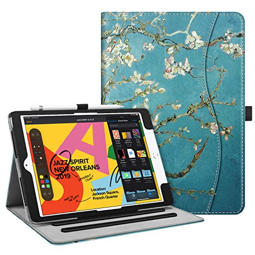 "Fintie Case for New iPad 7th Generation 10.2 Inch 2019 - [Corner Protection] Multi-Angle Viewing Folio Smart Stand Back Cover with Pocket, Pencil Holder, Auto Wake/Sleep for iPad 10.2"", Blossom"