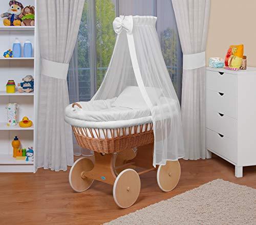 WALDIN Baby Stubenwagen-Set mit Ausstattung,XXL,Bollerwagen,komplett,18 Modelle wählbar,Gestell/Räder natur unbehandelt,Stoffe weiß
