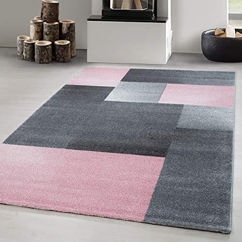 Carpetsale24 Alfombra DE DISEÑO, Pelo Corto, Alfombra DE SALÓN, Estampada A Cuadros, Rectangular, Rosa, tamaño:120x170 cm