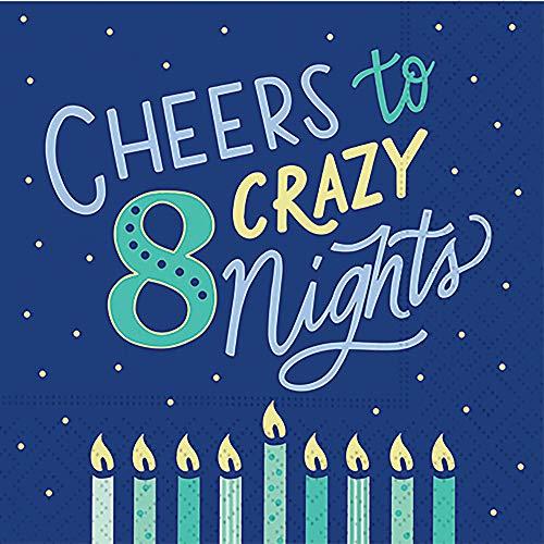 Hanukkah Party Napkins with Menorah Decorative Paper Napkins Funny Cocktail Napkins Beverage Cheers to Crazy 8 Nights 5' x 5' Pak 40