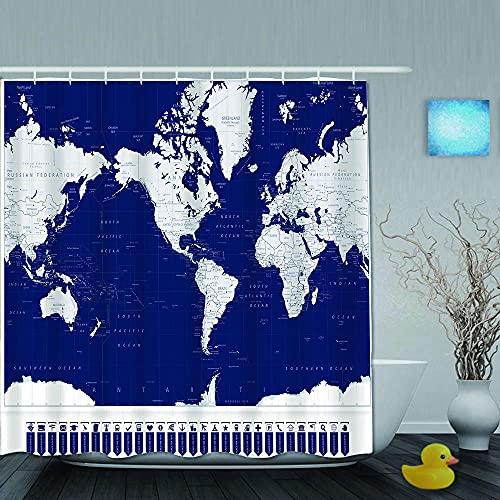 JLKDF Duschvorhang, Amerika zentrierte Weltkarte und Navigationskartenzeiger, Badezimmervorhang waschbarer Badezimmervorhang Polyestergewebe mit 12 Kunststoffhaken 180x180cm