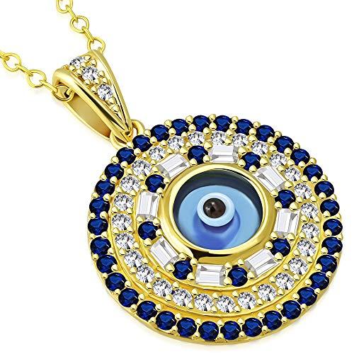 Argento sterling 925giallo oro bianco blu CZ Evil eye Pendant Necklace
