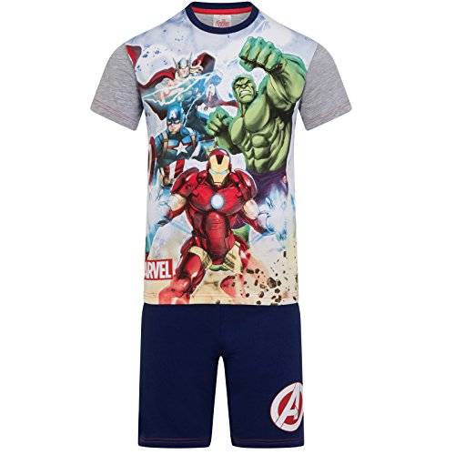 Marvel Avengers - Jungen Schlafanzug - kurz - Ironman, Hulk, Captain America, Thor - Offizielles Merchandise - Geschenk - Grau - 9-10Jahre