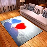 Alfombra,Soft Velvet Area Rugs Large Anti-Skid Runners Floor Mat Indoor Outdoor Blue Red Heart Carpet Pattern For Valentine's Day Bedroom Home Decor,122 * 183Cm