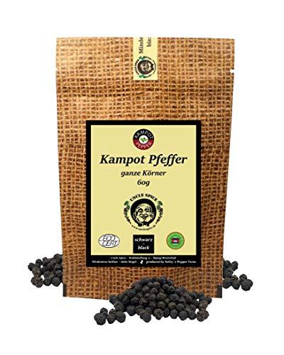 Uncle Spice schwarzer Kampot Pfeffer - 60g Kampot Pfeffer schwarz - Premiumqualität - ganze sonnengetrocknete Pfefferbeeren, Pfefferkörner ganz, handverlesen für die Mühle, Ideal zu Steaks