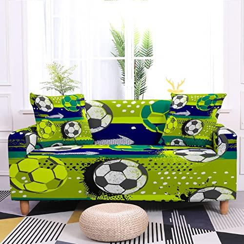 WXQY Funda de sofá elástica con patrón de fútbol Funda de sofá de fútbol elástica Funda de sofá para sillón Funda de sofá A3 4 plazas