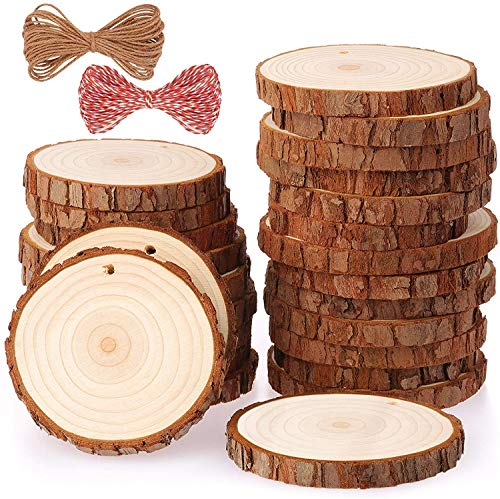 LLGLTOMO Natural Wood Slices 25 Pcs 3-3.5 Inches Craft Wood Kit Unfinished Predrilled with Holes 6 PCS Christmas Stencils and 24 Colors Pigment for Arts and Crafts Christmas Ornaments DIY Crafts