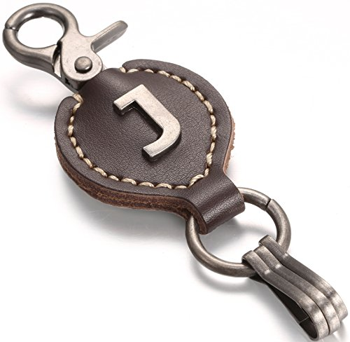 Leather Keychain For Men, Single Letter Alphabet with Easy Clasp - J - Rich Brown - One Size
