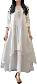 Connia Women Cotton Linen Boho Maxi Irregular Overlapp Dress Fall Elegant Casual Button Daily Loose Dresses