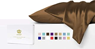 Luxor Crown Set of 2 Mulberry Silk Standard Pillowcases (Chocolate)