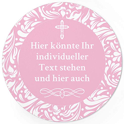 24 PERSONALISIERTE runde Etiketten mit Motiv: ROSA für Mädchen - Ihre Aufkleber online selbst gestalten, ganz individuell für Taufe, Konfirmation oder Kommunion