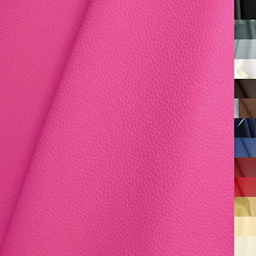TOLKO Lederimitat mit Rindsleder Optik | weiche Premium Meterware | für Stuhl Bank Sessel Sofa Sitzbezug 140cm breit | Kunstleder Bezugstoff Polsterstoff Polsterbezug Möbelstoff (Pink)
