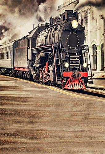 Vinyl Photography Backdrop 5X7FT Background The Old Steam Train Locomotive Railway Landscape Scene Railway Background Photography Studio Photo Accessories Home Decoration Birthday Party Party
